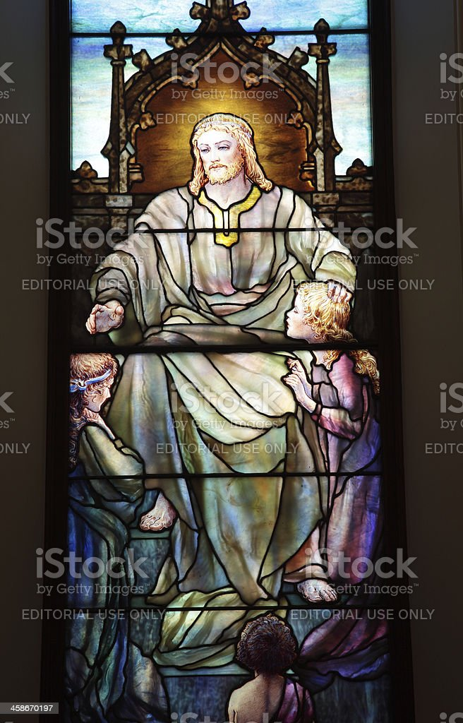 Religious: Jesus with Children Tiffany Stained Glass Window royalty-free stock photo