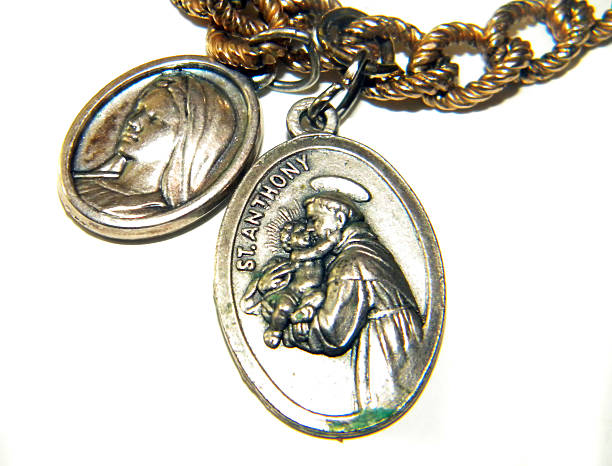 religious medals - st. anthony of padua stock photos and pictures