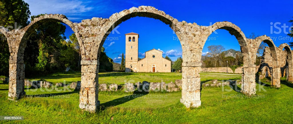 Religious monuments of Italy - Abbey San Vincenzo al Volturno in Molise stock photo