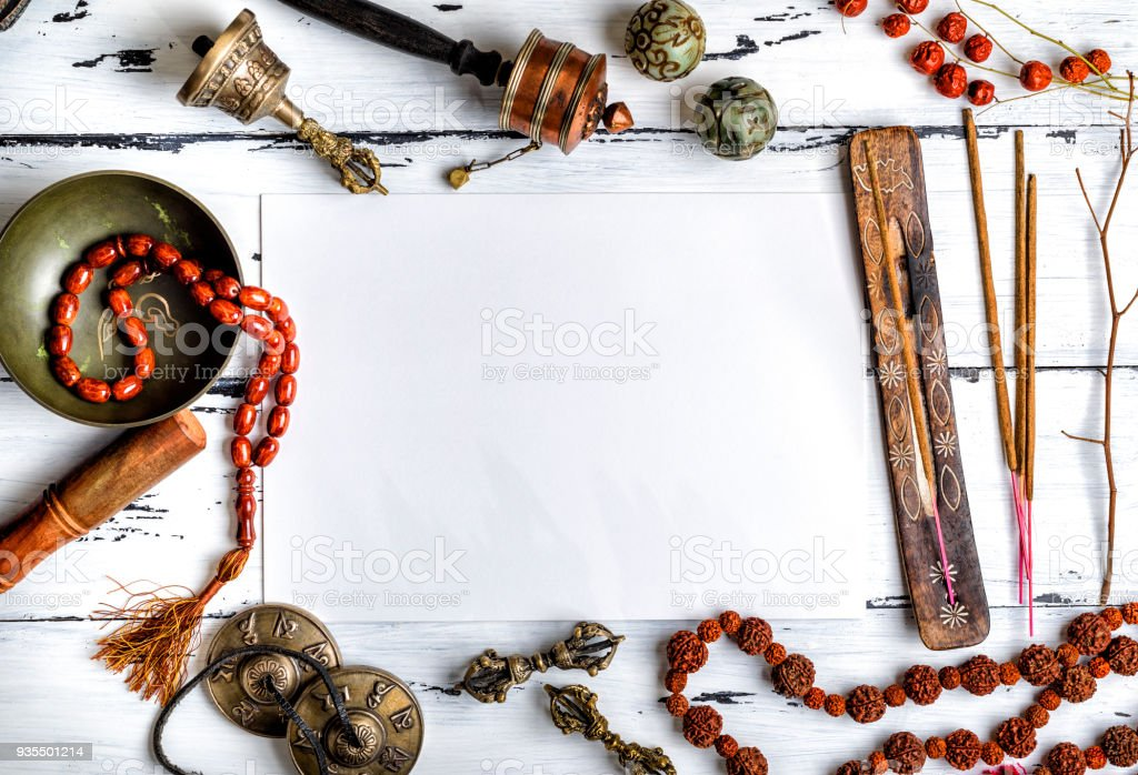 religious musical instruments for meditation and alternative medicine stock photo