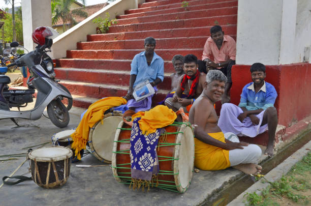 Religious musicians in Jaffna stock photo