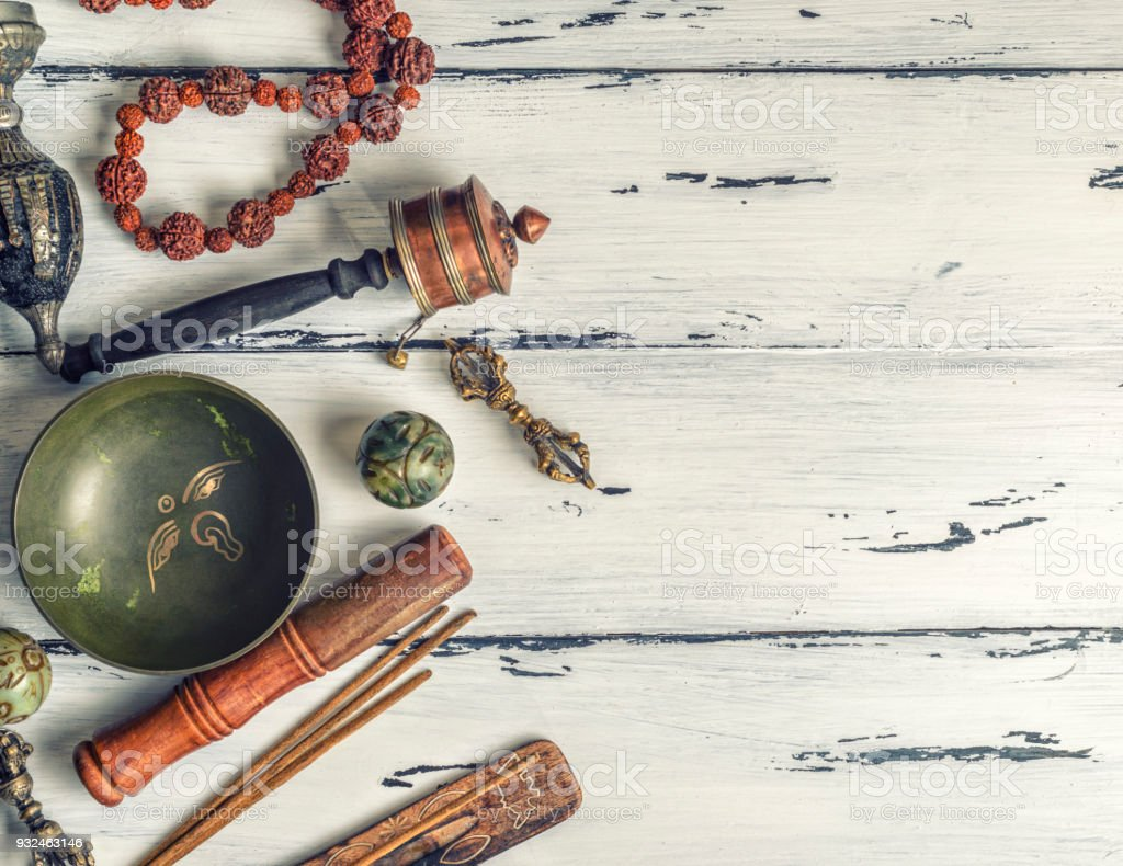 religious objects for meditation and alternative medicine stock photo