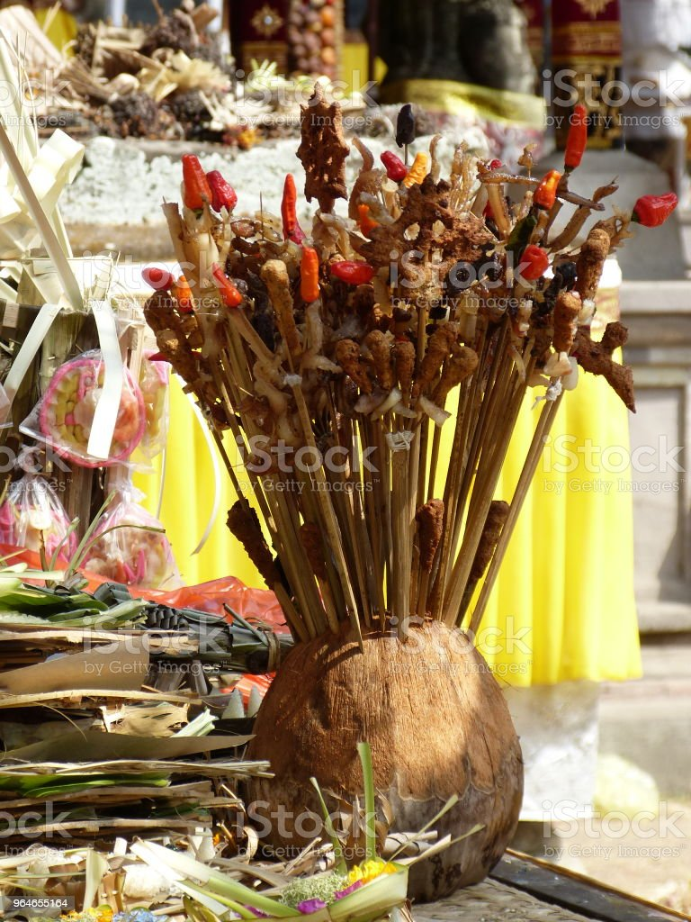 religious offerings in balinese temple royalty-free stock photo