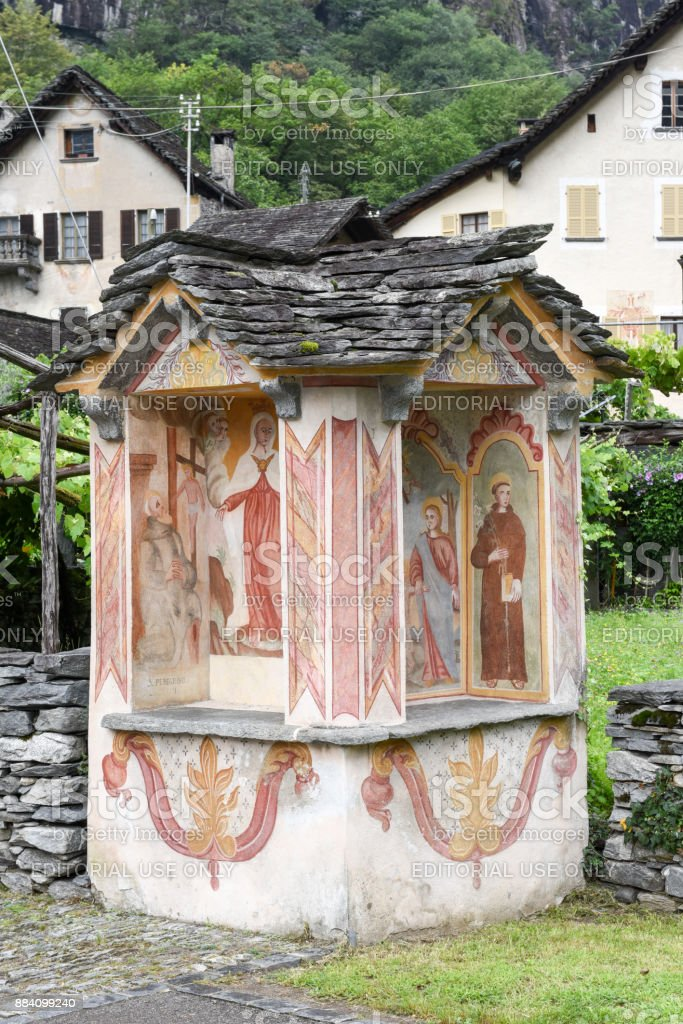 Religious paintings  at Cevio on Maggia valley stock photo