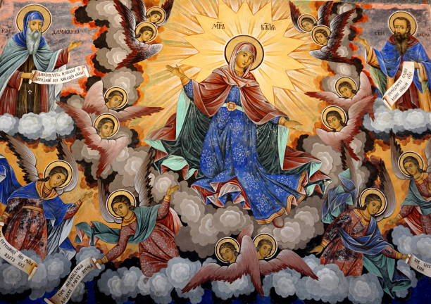 religious paintings from rila monastery in bulgaria - conceptual symbol stock pictures, royalty-free photos & images