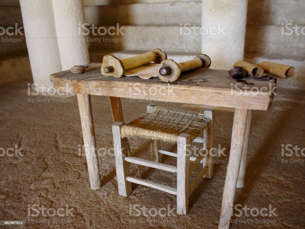 Religious parchment in synagogue stock photo