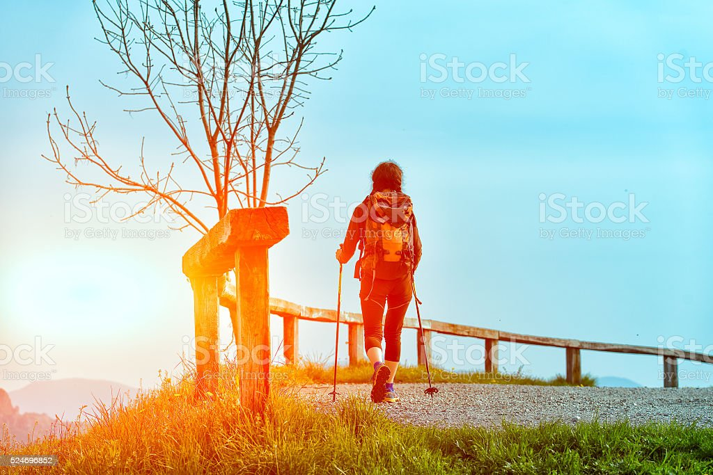 Religious pilgrimage alone stock photo