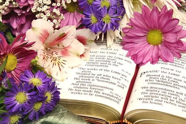 religiöse: psaltery 111 bibel schriften eingemeißelt mit blumen - psalm stock-fotos und bilder