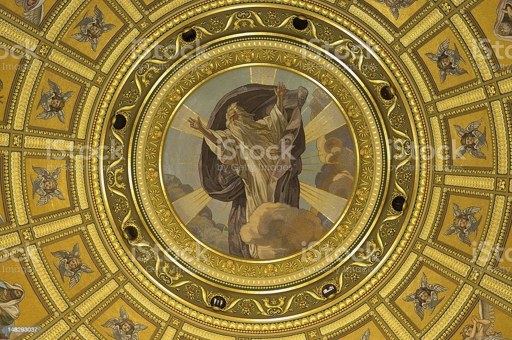 religious scene inside chapel royalty-free stock photo