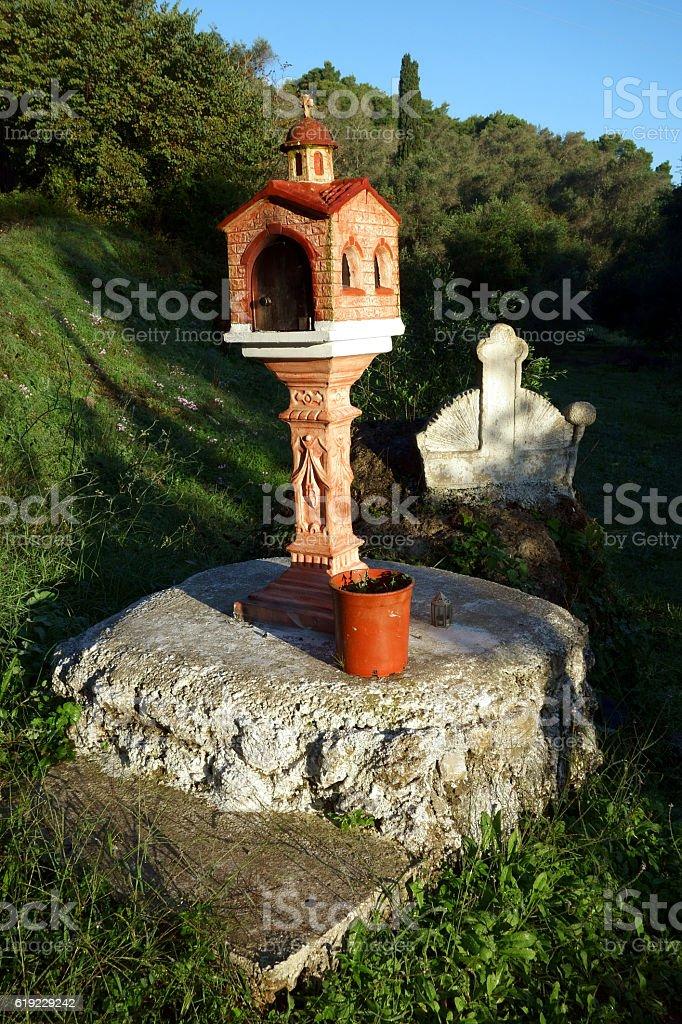 Religious Shrine, Corfu Trail, Greece stock photo