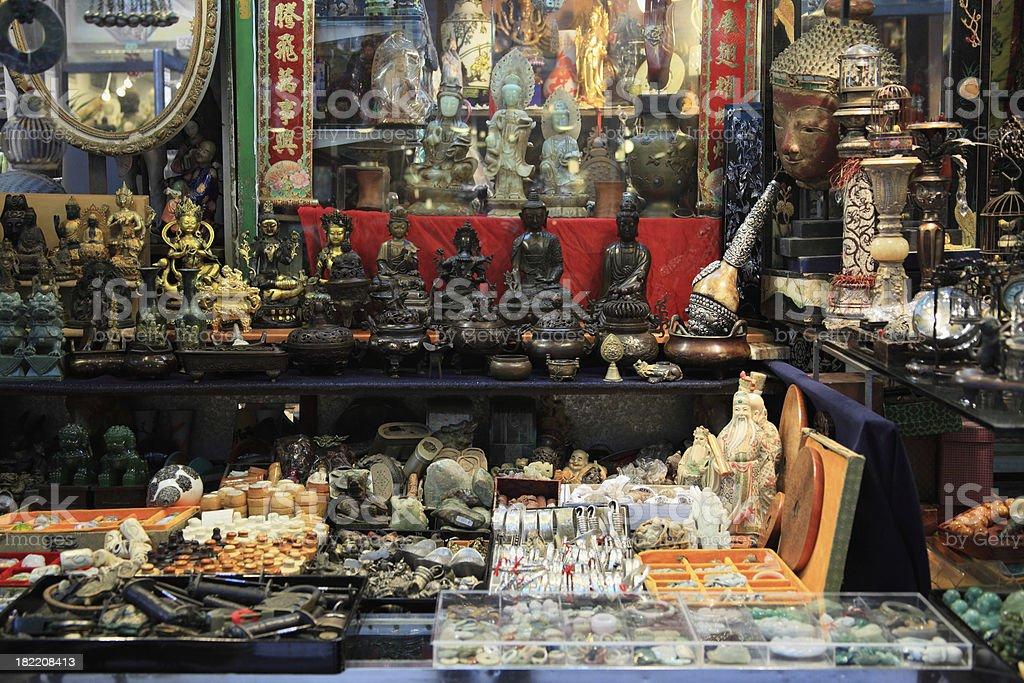 Religious souvenir shops in Hongkong stock photo