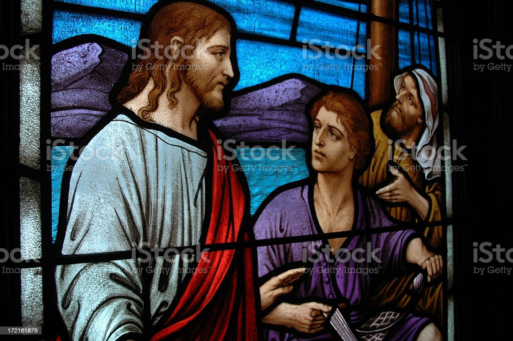 Religious stained glass window royalty-free stock photo