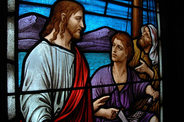 Religious stained glass window stock photo