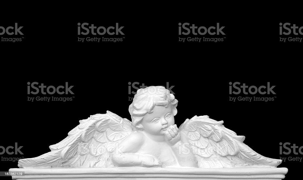 Religious style angel on black stock photo