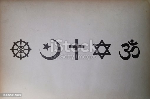 Religious symbols (Buddhism, Islam, Christianity, Judaism, and Hinduism) printed on an old paper.