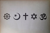 Religious symbols (Buddhism, Islam, Christianity, Judaism, and Hinduism)