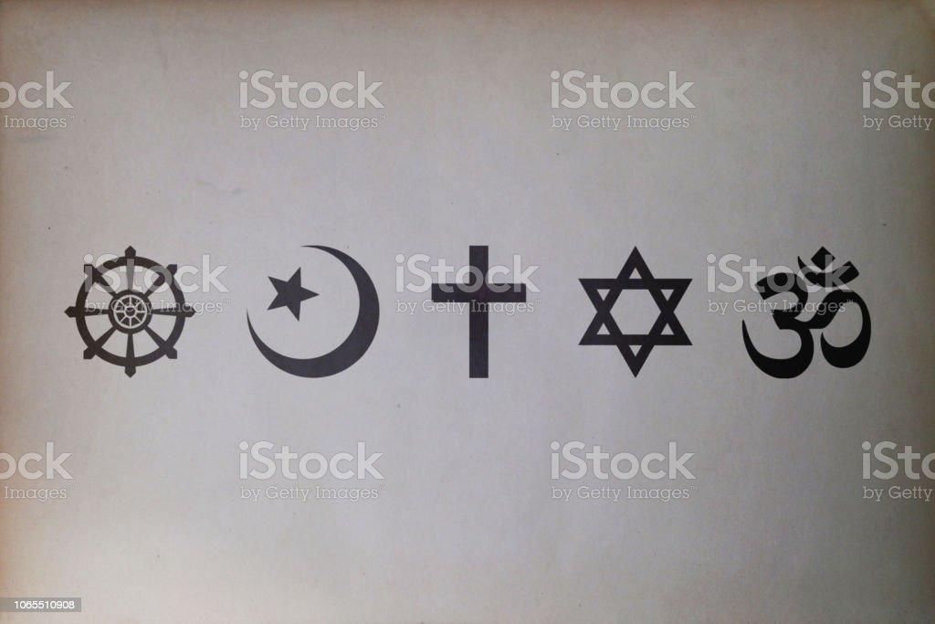 Religious symbols (Buddhism, Islam, Christianity, Judaism, and Hinduism) stock photo