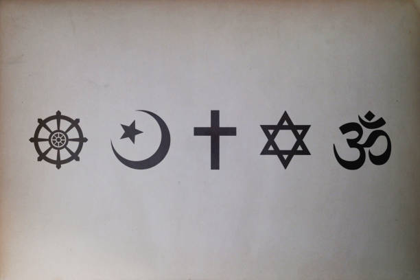 Religious symbols (Buddhism, Islam, Christianity, Judaism, and Hinduism) stock photo