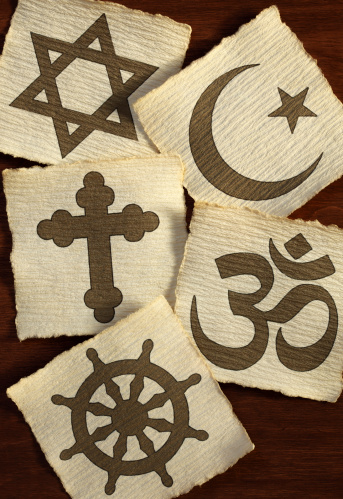 Symbols of the different world religions.