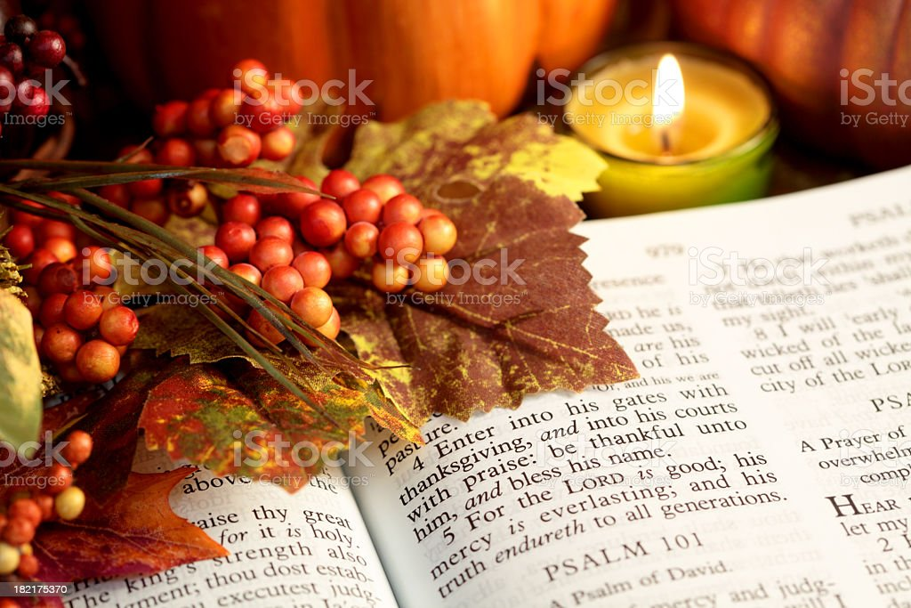 Religious: Thanksgiving Bible Scripture with fall leaves, berries, candle royalty-free stock photo