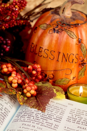Religious Thanksgiving Bible Scripture With Pumpkin