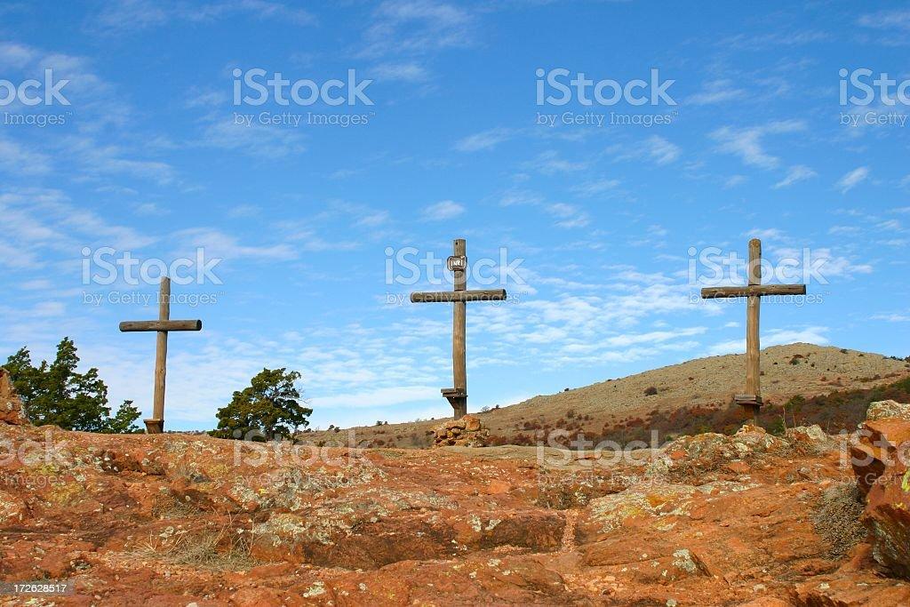 Religious: Three Crosses on hill royalty-free stock photo