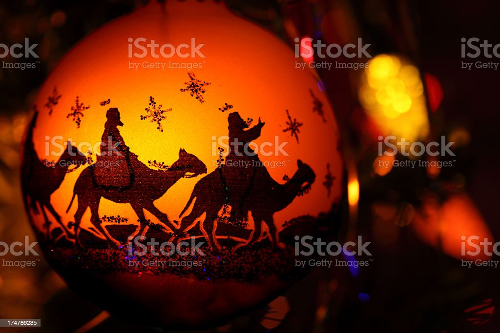 Religious: Three Wise Men Silhouette Christmas Ornament stock photo