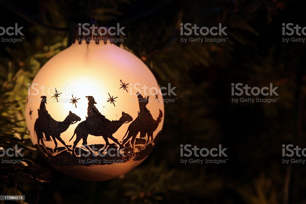 Religious: Three Wise Men silhouette on Christmas Ornament stock photo