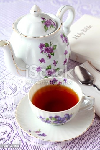 Lovely antique teapot and tea cup with violets (made in Japan) with Bible ready for meditation time.