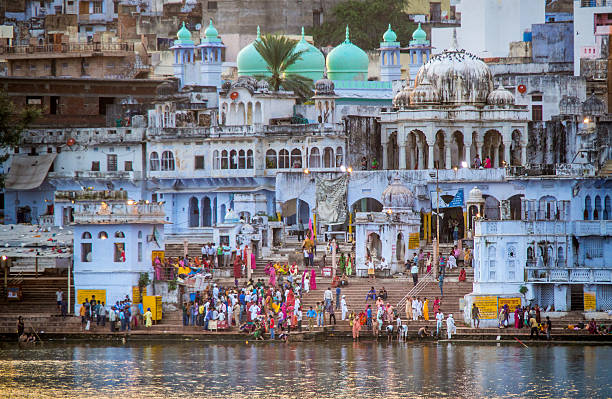 Religious washing at the Gau Ghat in Pushkar stock photo