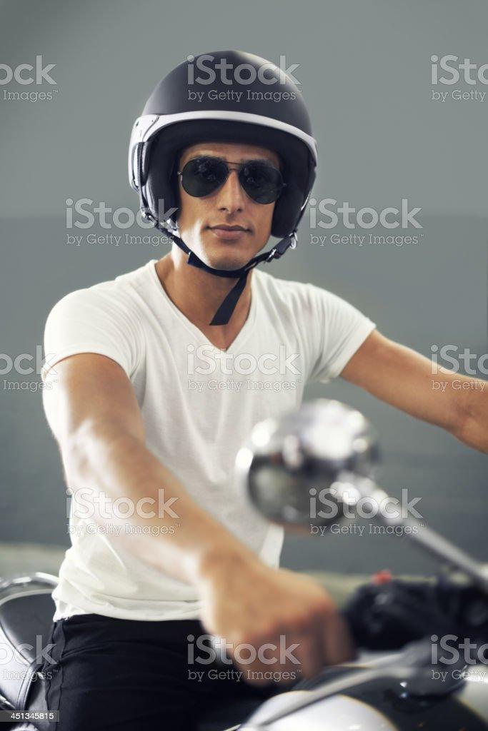 Relishing his ride stock photo