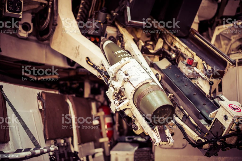 Reloading a Tanks Turret for Action stock photo