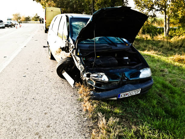 Remains of a car involved in a road accident on a motorway near Bratislava, Slovakia stock photo