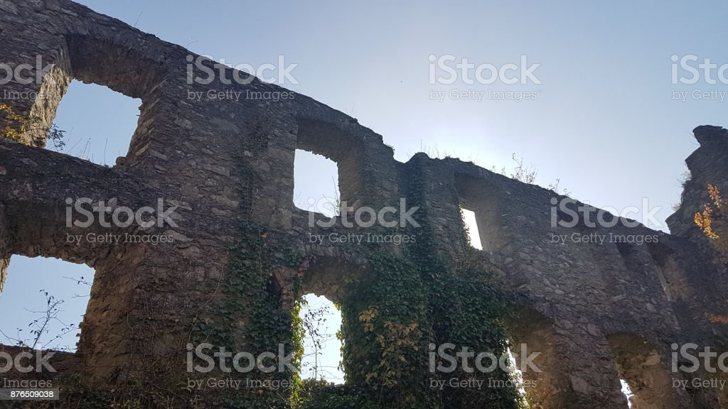Remains of a castle stock photo