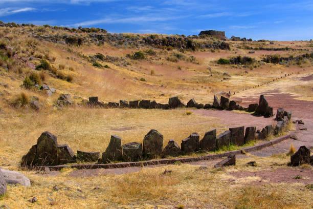 Bleibt eine kreisförmige Grabstätte am See Umayo, Peru – Foto