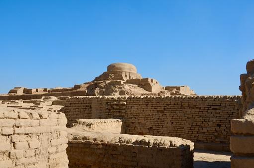 Remains of a stupalike stone tower, Mohenjo-daro, Sindh province, Pakistan.