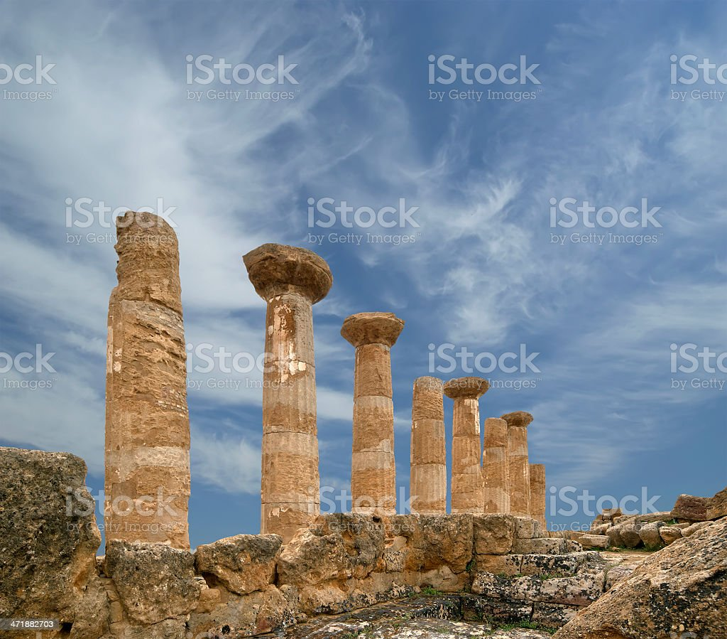Remains of an ancient Greek temple Heracles (V-VI century BC) royalty-free stock photo