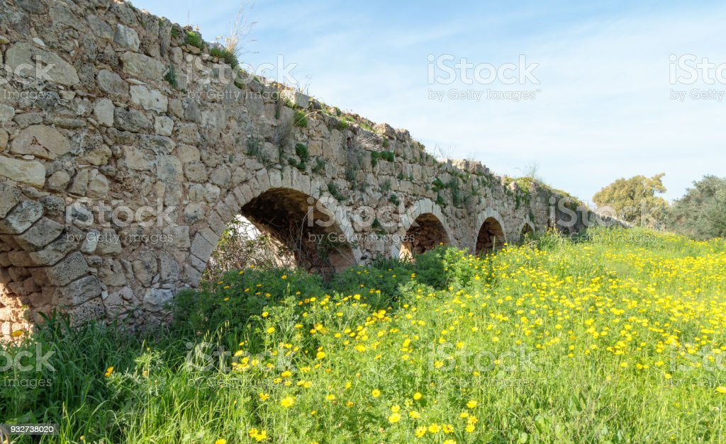 Remains  of an ancient Roman aqueduct between Acre and Nahariya stock photo