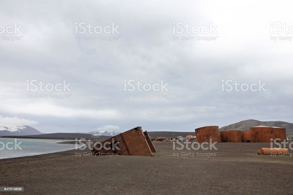 Remains of an old whaling station at Whaler's Bay, Deception Island, Antarctica stock photo