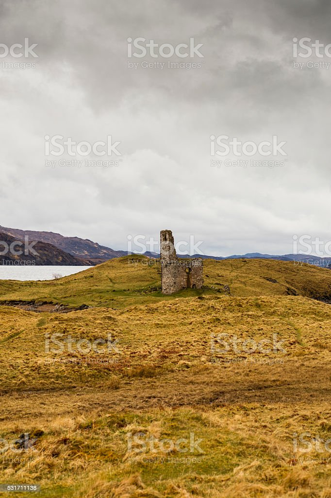 Remains of Ardvreck Castle and Loch Assynt (Highlands, Scotland) stock photo