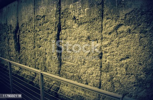 Remains of Berlin wall, detail of old concrete wall, Germany