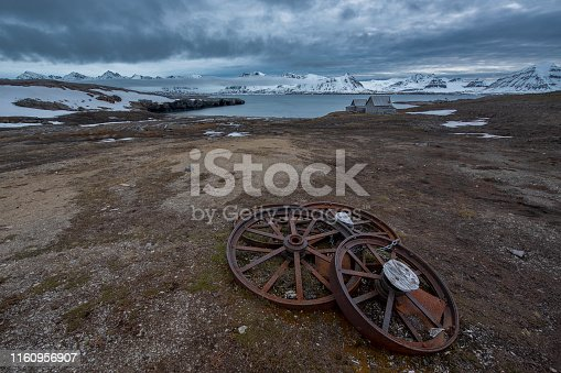 remains of Ernest Mansfield's Northern Exploration Company with view of the bay at Blomstrandhalvøya Blomstrandhalvoya - svalbard