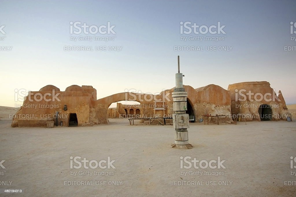 Remains of film Star wars in Ong Jemel Ong Jemel, Tunisia - September 17th, 2012 :Remains of buildings from the set of movie Star Wars in Ong Jemel, a place near Tozeur in Tunisia. Africa Stock Photo