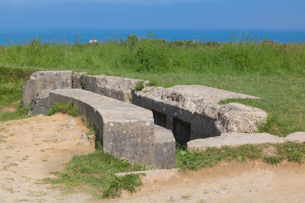 remains of german bunkers near omaha beach france - caen stock pictures, royalty-free photos & images