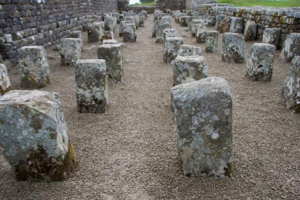 reste der getreidespeicher, römisches kastell housesteads, hadrianswall - hadrian's wall stock-fotos und bilder