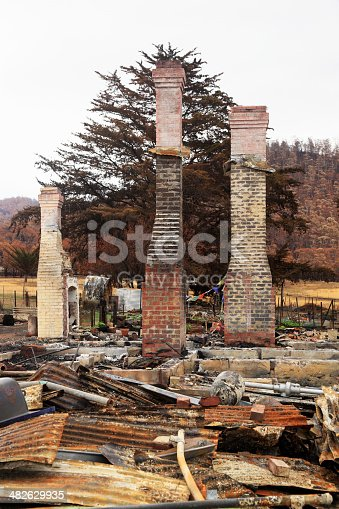 Three chimneys stand stark against the backdrop of a charred hillside, all that remains of a house destroyed by a catastrophic bushfire.  In the foreground is a jumble of burnt and twisted roofing iron and other charred remains.  Vertical, copy space.