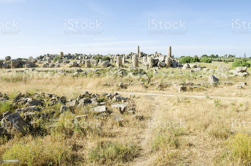 Remains of old Greek City in Selinunte, Sicily royalty-free stock photo