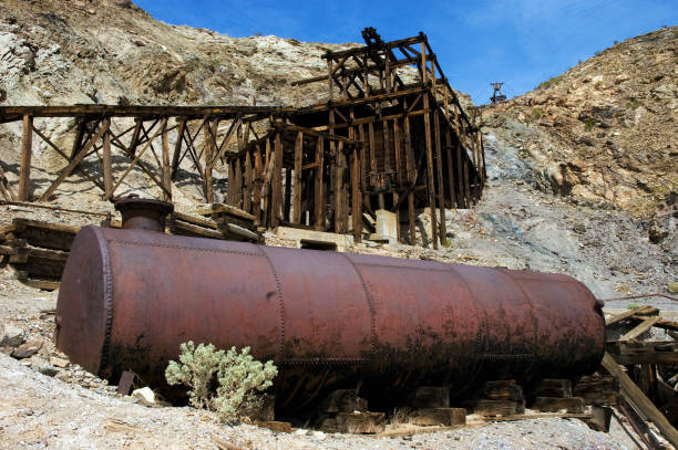 Remains of old mine ruins in Death Valley stock photo