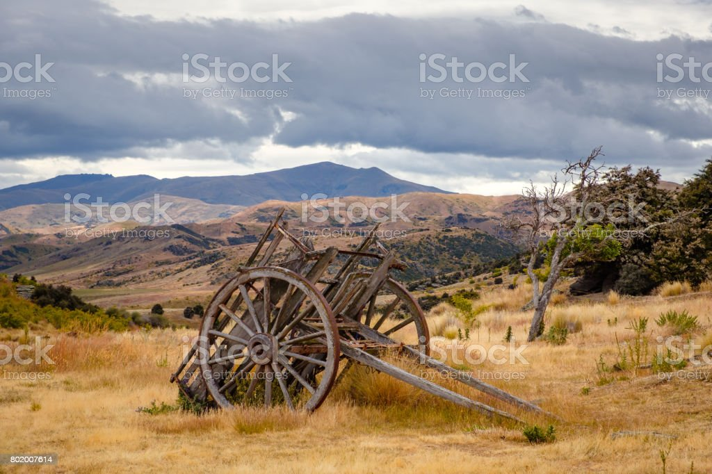 Remains of old miners abandoned town, Bendigo, New Zealand stock photo
