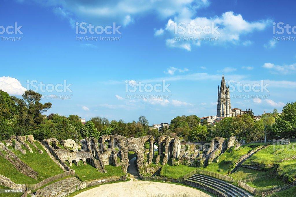Remains of Roman Amphitheatre in Saintes Poitou-Charente royalty-free stock photo